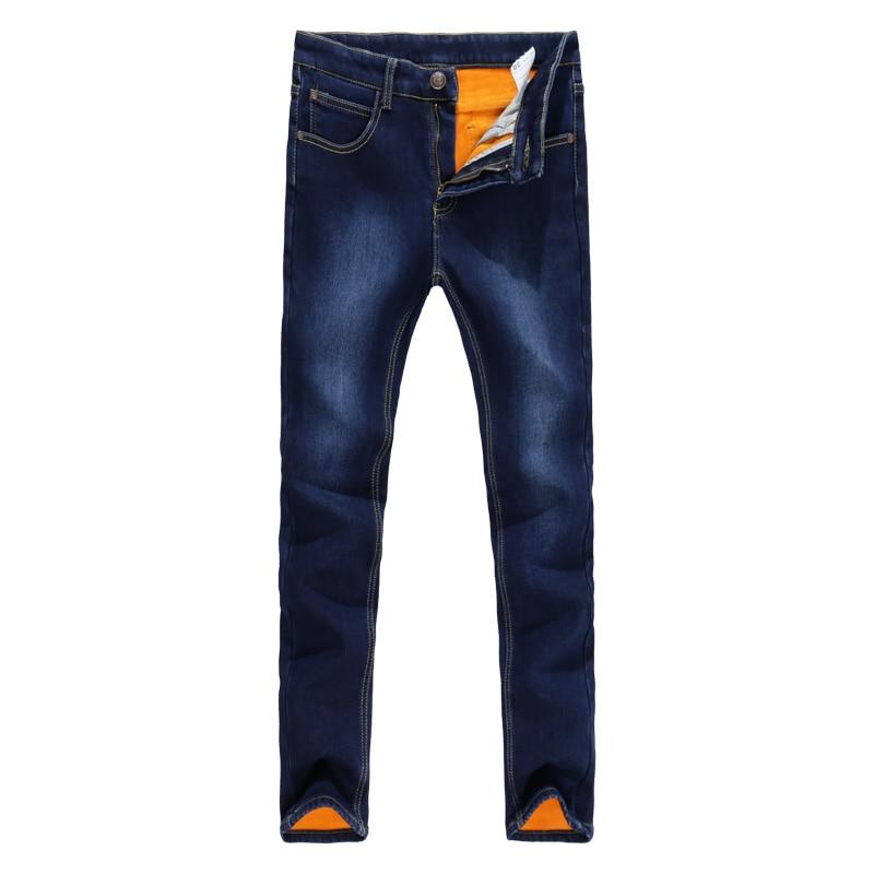 TANGYAXUAN 2019 Thick Men Winter Stretch Jeans Warm Fleece Men's Classice Jeans Quality Male Blue Denim Jean Pants Size 27-36
