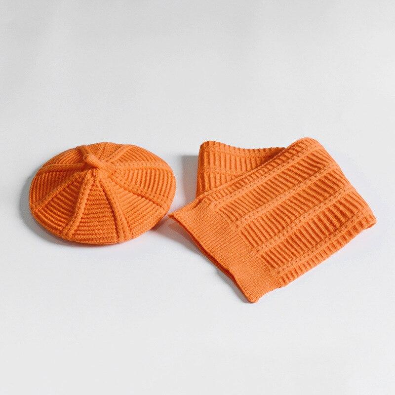 2-8years Girls Knit Hat Scarf 2pc Set Kids Beret Boina Bufanda Orange Yellow Red Green Grey