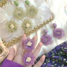 2020 New Green Purple Chiffon Flower Earrings For Women Korean Style Statement Drop Dangle Pendientes Gifts mengjiqiao 2019 new korean crystal pink flower tassel long drop earrings for women geometric elegant dangle pendientes gifts
