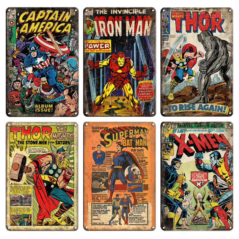US SELLER Marvel Spider-man comic tin metal sign room metal wall art