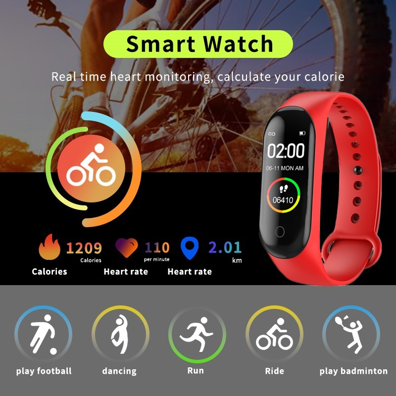 Outdoor Sport Fitness Bracelet Blood Oxygen Heart Rate Monito Running Swimming Smart Watch Wateproof Ip68 Vrouwen Spain Red image