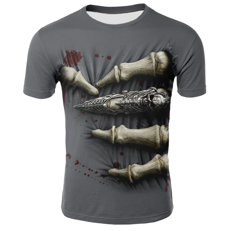 Hip Hop Male Tshirt Grim Reaper Finger Short Sleeve Casual O Neck Summer Tops Cool Skull Print T-shirt For Men