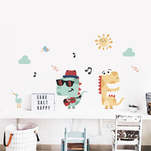 Cartoon Lovely crocodile music wall stickers for kids rooms education school nursery children room decor accessories