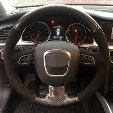 De fibra de carbono de cubierta de volante para Audi A3 8P Sportback A4 B8 Avant A5 8T A6 C6 A8 D3 Q5 8R Q7 4L S3 S4 S5 Seat Exeo