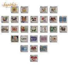 Hapiship,, Маргаритка, лошадь, любовь, Бабочка, мама, собака, мотоцикл, слон, браслет, подходит для изготовления ювелирных изделий из нержавеющей стали, DJ003