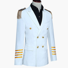 Men's captain aircraft commander High-grade uniform military double breasted coat film performance business suit for cosplay