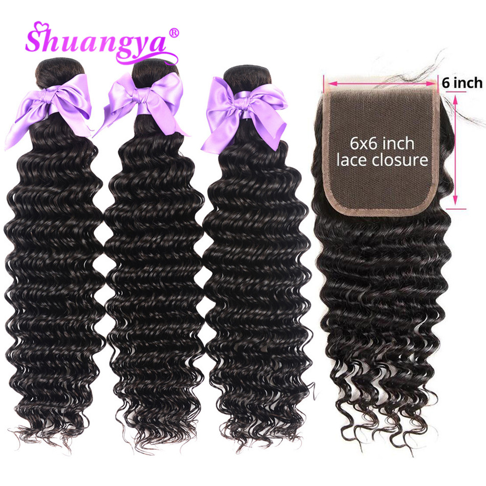 Shuangya Hair Brazilian Deep Wave Bundles With Closure 6x6 Closure With Bundles Remy 100% Human Hair 3/4 Bundles With Closure
