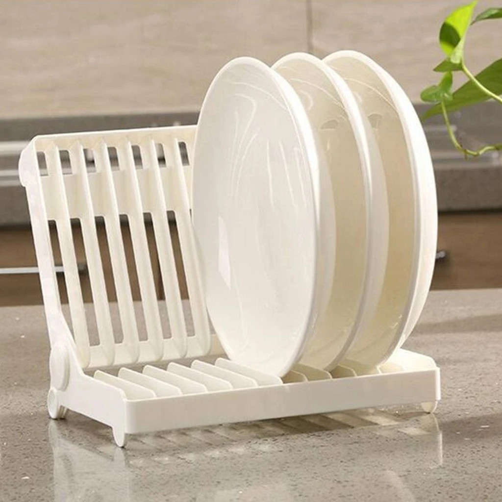 Organizer Sink Dish-Plate Storage-Holder Drainer Drying-Rack Kitchen Foldable Plastic title=