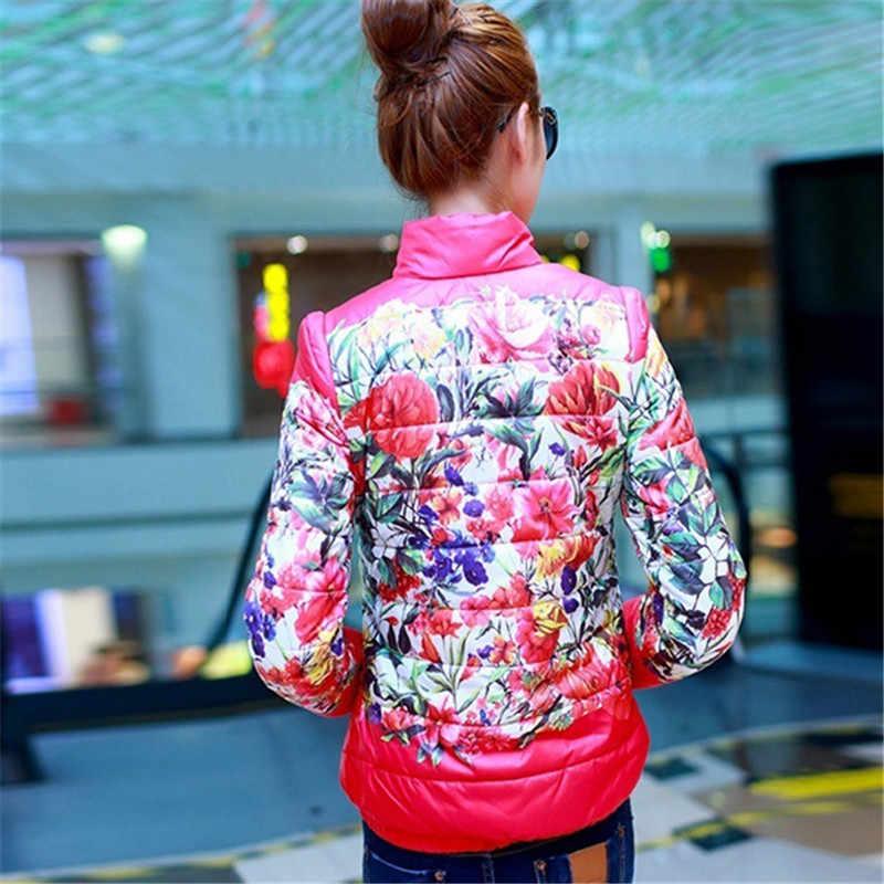 Chaqueta ligera de manga larga con estampado Floral de algodón acolchado para S-XXL