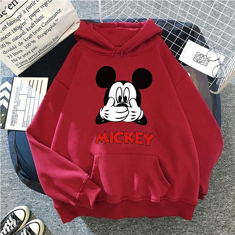 Disney Women Hoodies Minnie Mickey Mouse Hoodies Cartoon Tops Long Sleeve Pockets Sweatshirts Fashion Hooded Women 21