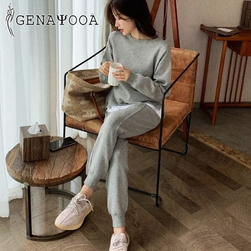 Genayooa Knitted Two Piece Set Top And Pants Women Tracksuit 2020 Autumn Spring Winter Korean 2 Piece Sets Womens Outfits