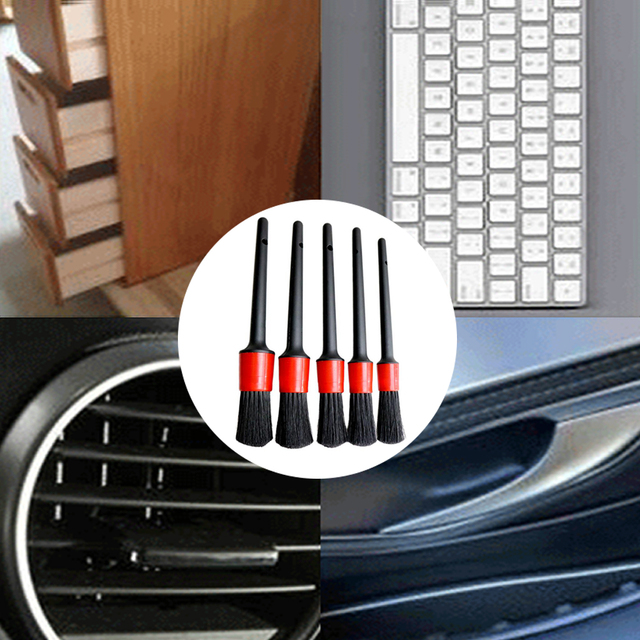 5Pcs Car Detailing Brush Set Detail For Cleaning Wheels Engine Emblems Air Vents 3