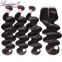 Longqi-mechones de pelo malayo ondulado, 3 mechones de cabello humano Remy con cierre y mechones
