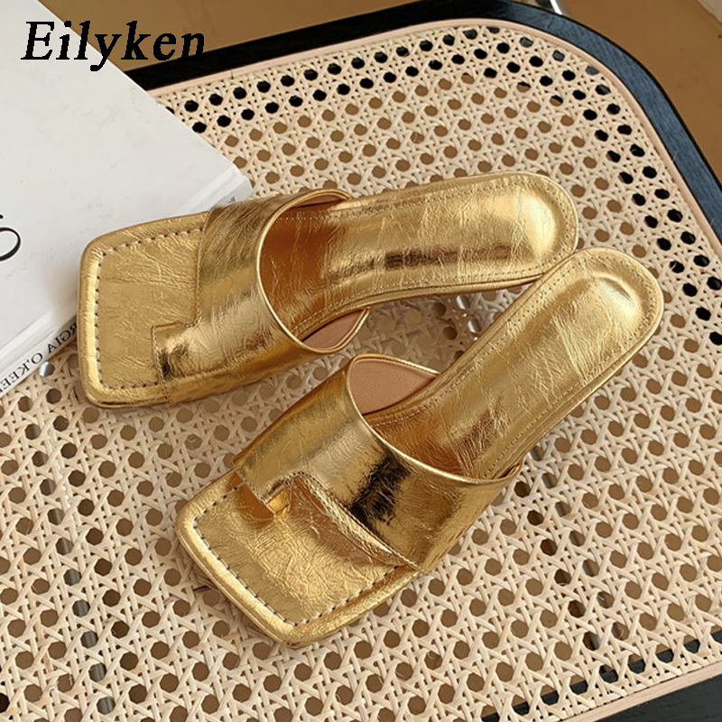Eilyken  New Summer Slippers Med Heel 4cm Women Sandal Design Outdoor Vacation Slides Flip Flops Shoes Mujer