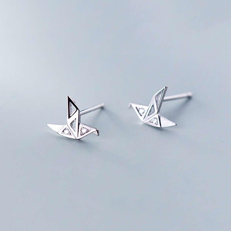INZATT Real 925 Sterling Silver Minimalist Zircon Crane Stud Earrings For Fashion Woman Party Trendy Fine Jewelry Accessories