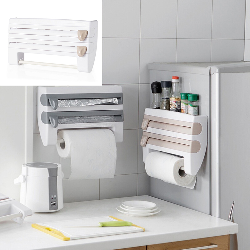 ABS multi function paper towel towel rack kitchen with cutting plastic wrap storage rack|Plastic Wrap Dispensers| |  - title=