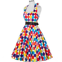 Hot Selling Retro Hepburn Wind Multi color Polkadot 50s Waist Hugging Slimming Expandable Dress with Belt, And