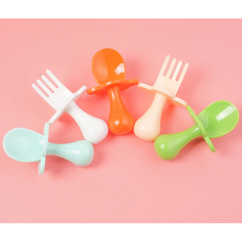 Baby Training Fork Spoon Set Newborn Feeidng Soup Spoon Candy Colors Kid Food Supplement Fruit Fork Safety PP Material Tableware