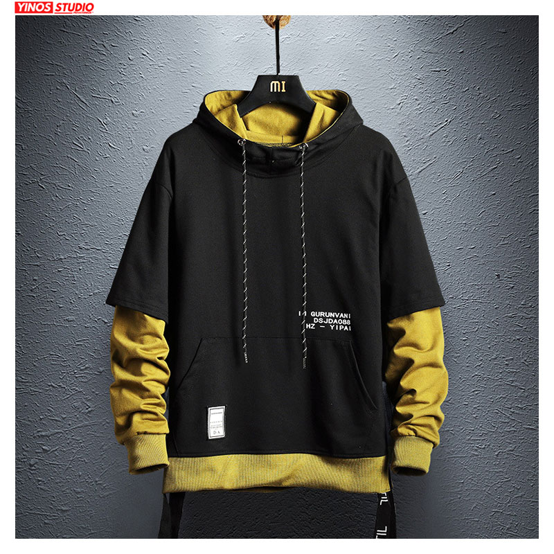 Dropshipping Mans Hoodie Sweatshirt Mens Hip Hop Pullover Hoodies Streetwear Casual Fashion Clothes Patchwork Hoodie 2019 Cotton