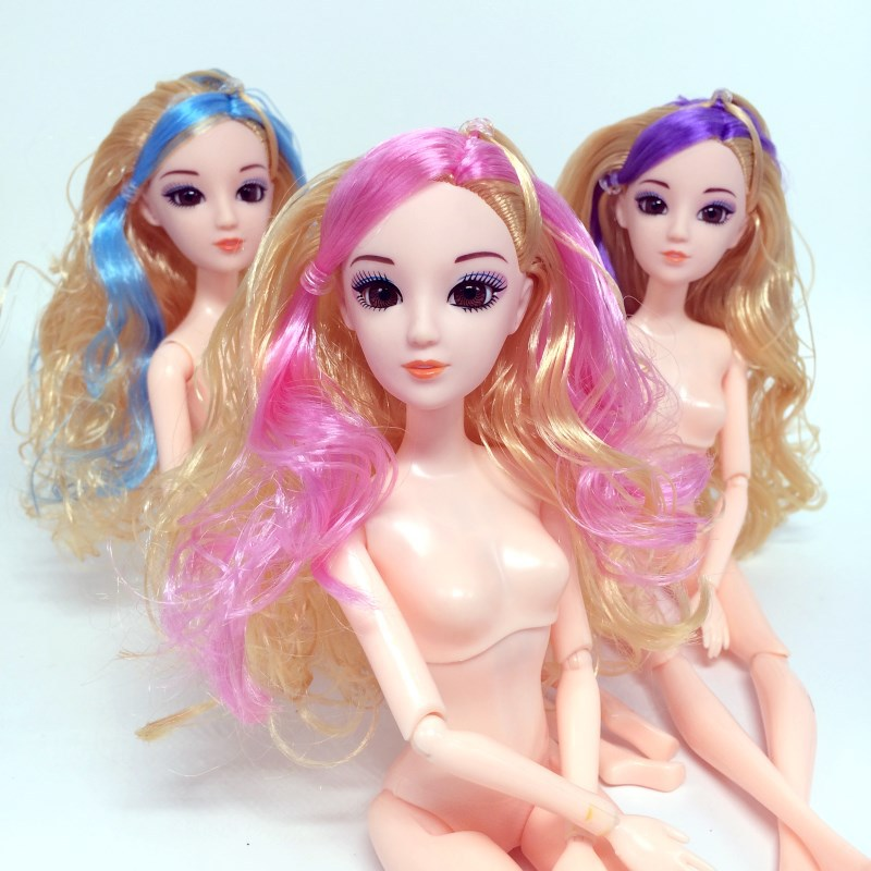 3D eye girl toy Barbie doll Naked baby doll body head barbie doll kid gift 6#