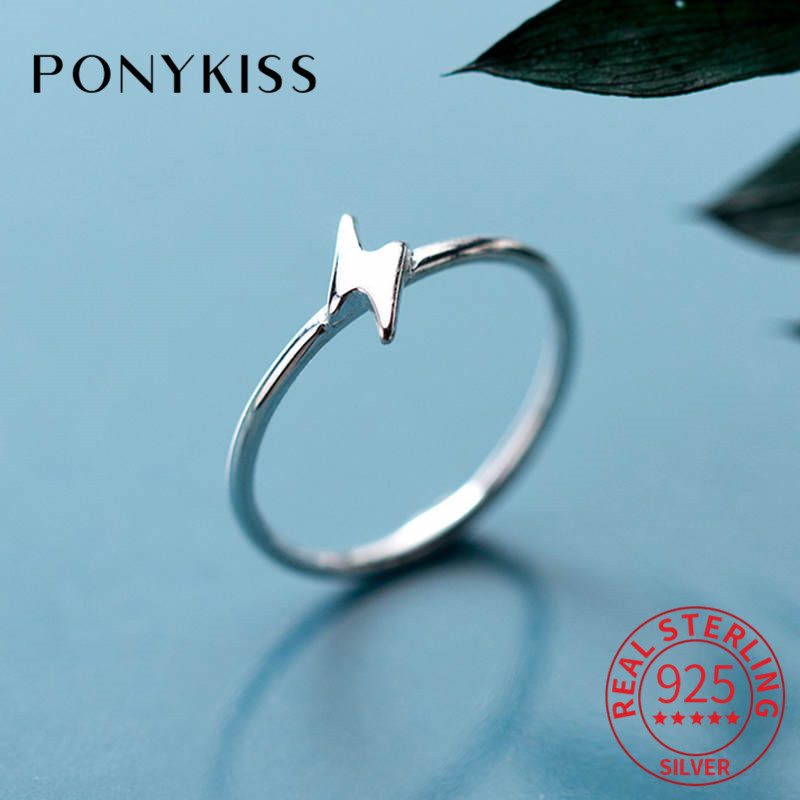 PONYKISS Real 925 Sterling Silver Lightning Geometric Ring For Women Party Fashion Simple Ring Accessory Girl Lovely Chic Gift