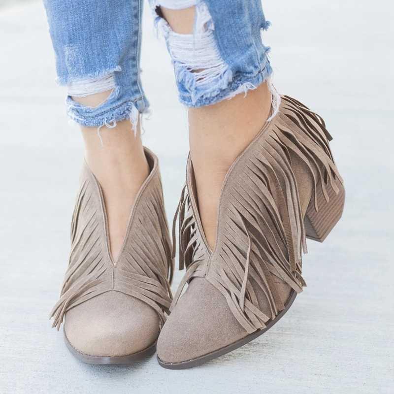 2019 Kadın Orta Topuklu Rahat Mujer Patik Şık Kadın Ayakkabı Retro Saçak Süet Yüksek Topuk yarım çizmeler Feminina Artı Boyutu 43
