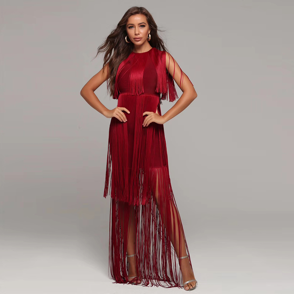 2020 Women Tassel Sexy Club Bandage Dresses Red Color Crystal Floor-Length Sexy Party Dress Zipper Sleeveless O-Neck Four Size