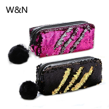 Reversible Sequin Pencil Case For Girls Hairball Pencil Case Bag Kawaii School Supplies Cute Pencil Box Pen Pouch Stationery 1 pc laser colorful love pencil case kawaii pencil bags cute pencil pouch korea pen case stationery gift school supplies