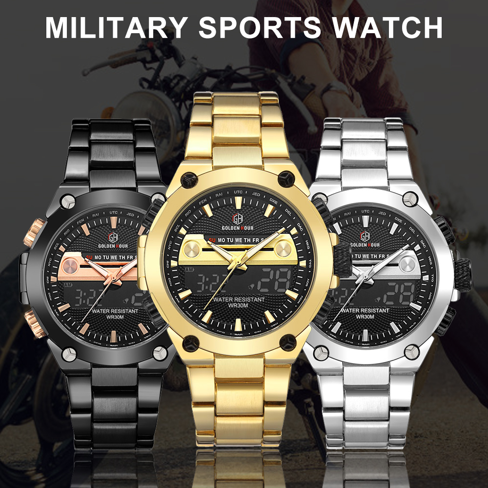GOLDENHOUR Digital Wristwatch Gold Watch Men Military Watches Mens 2020 Quartz Calendar Clock Datejust часы мужские спортивные