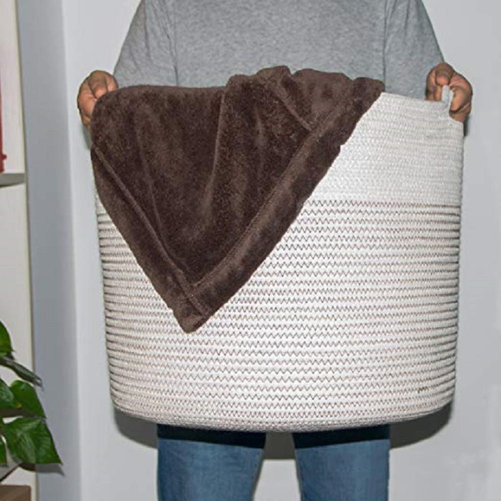 Корзина для хранения, корзина с хлопковой веревкой, большой тканый ящик для хранения для детского белья, одеяло, подгузники и игрушки #4W