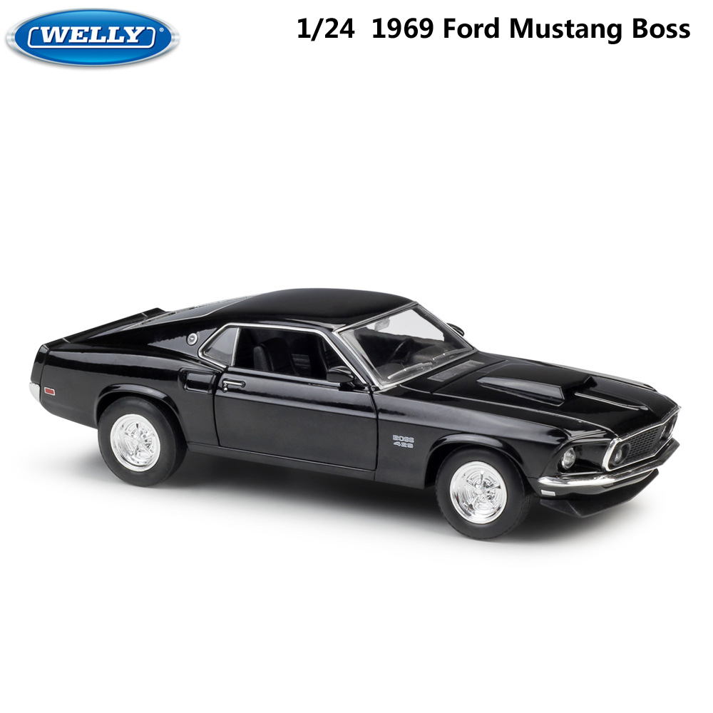 WELLY <font><b>1:24</b></font> Scale Diecast Car High Simulation 1967 <font><b>Ford</b></font> <font><b>Mustang</b></font> Boss429 Model Car Metal Alloy Toy Car For Kids Gifts Collection image