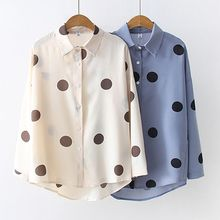 Women Polka Dots Long Sleeve Blouse Fashion Ladies Tops Turn-down Collar Student Chiffon Shirt NS fashion polka dots pattern rolling edge dog adjustable collar