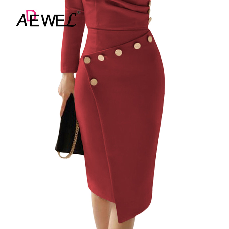 ADEWEL Button Detail White Ruched Bodycon Office Work Dress Women Long Sleeve V-Neck Party Midi Gown Dress 13