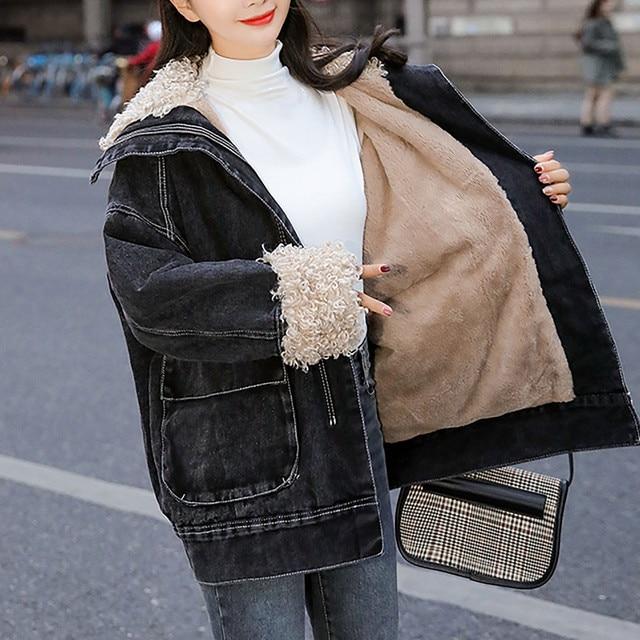 Jacket Women 2020 Black Women's Winter Loose Plus Velvet Wool Roll Tooling Thick Denim Jacket Coat Jacket Ladies Korea Пуховик 5