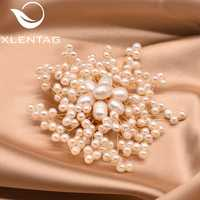 XlentAg Natural Fresh Water Baroque Pearl Snowflake Brooches For Women Party Wedding Brooch Pins Luxury Handmade Jewelry GO0332