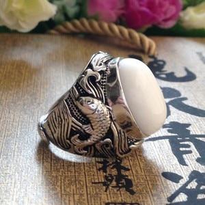 Image 3 - 最高の販売新メンズシルバーリング 925 で設定天然石シルバーリング男性のためのシルバーマンのリング