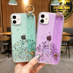 For iPhone SE XR Xs 11 Pro Max X 8 7 6S 6 Plus Case Fashion Glitter Bling Star Silver Powder Pink Transparent Back Funda
