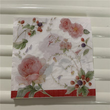 Decoupage papel para mesa servilletas pañuelo elegante vintage toalla flor fresa cumpleaños boda fiesta hogar hermosa decoración 20