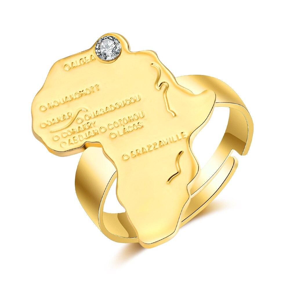 Js & Sth afrique carte bagues de fiançailles pour les femmes à la mode amour luxe Vintage anneau réglable bague en gros Lots en vrac