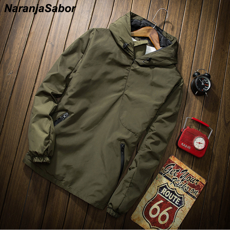 NaranjaSabor 2020 Autumn Jacket Mens Hooded Windbreaker Men Solid Color Pullover Outwear Fashion Male Casual Brand Clothing N628