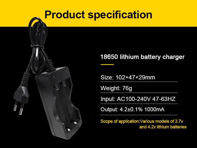 VOXLINK 18650 battery charger EU 2slots Smart charging Li-ion Rechargeable Battery charger