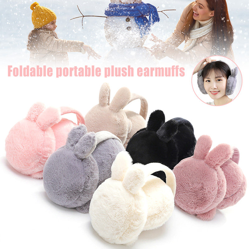 Newly Winter Plush Ear Muffs Foldable Cartoon Women Warm Earmuffs Ear Warmer FIF66