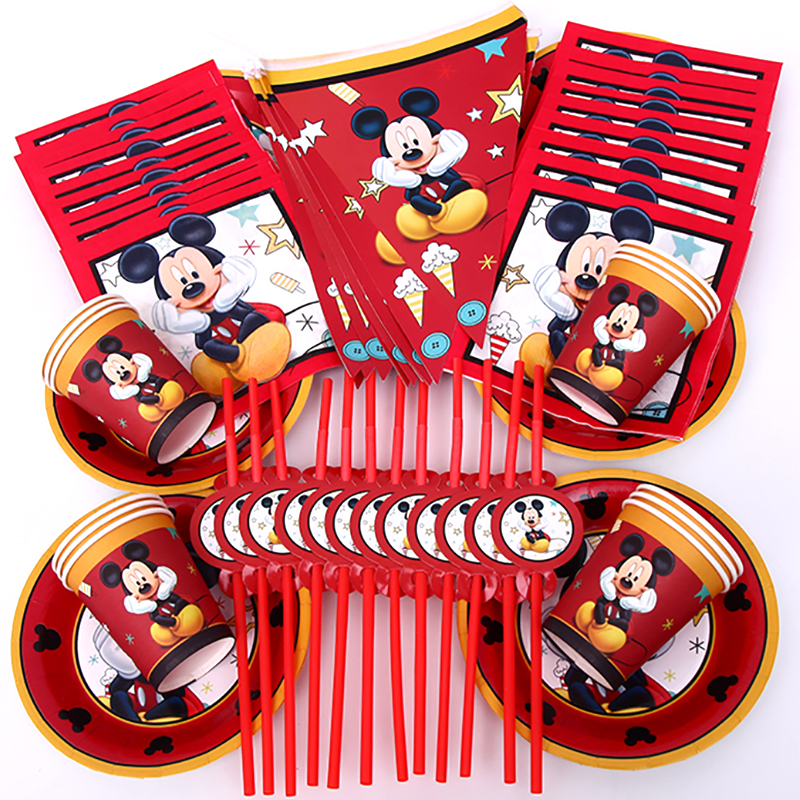 68pcs Suitable For 12 People Mickey Mouse Party Red Mickey Party Tableware Set Children Birthday Party Supplies Decoration