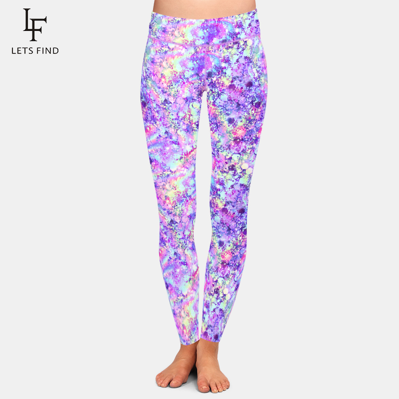 LETSFIND Fashion Women High Waist Elastic Leggings High Quaility Glitter Unicorn Print Plus Size Women Workout Leggings