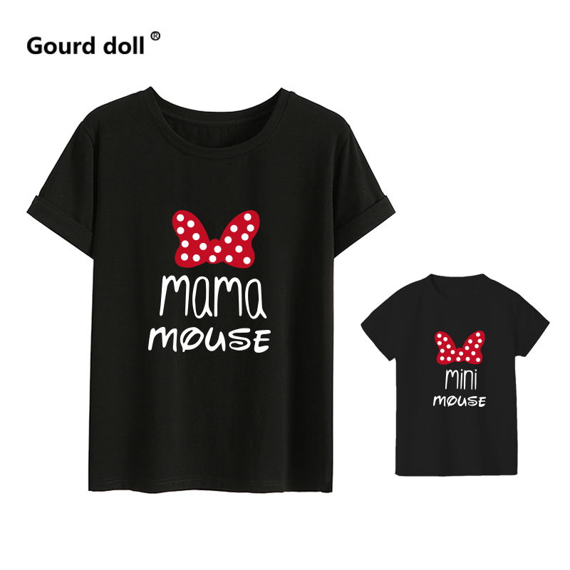 H4db0b4bb791d436385f66e86d7ba359ad - MAMA and mini Family Matching clothes Cotton kawaii bow tshirt mommy and me clothes  Tops baby girl clothes matching outfits