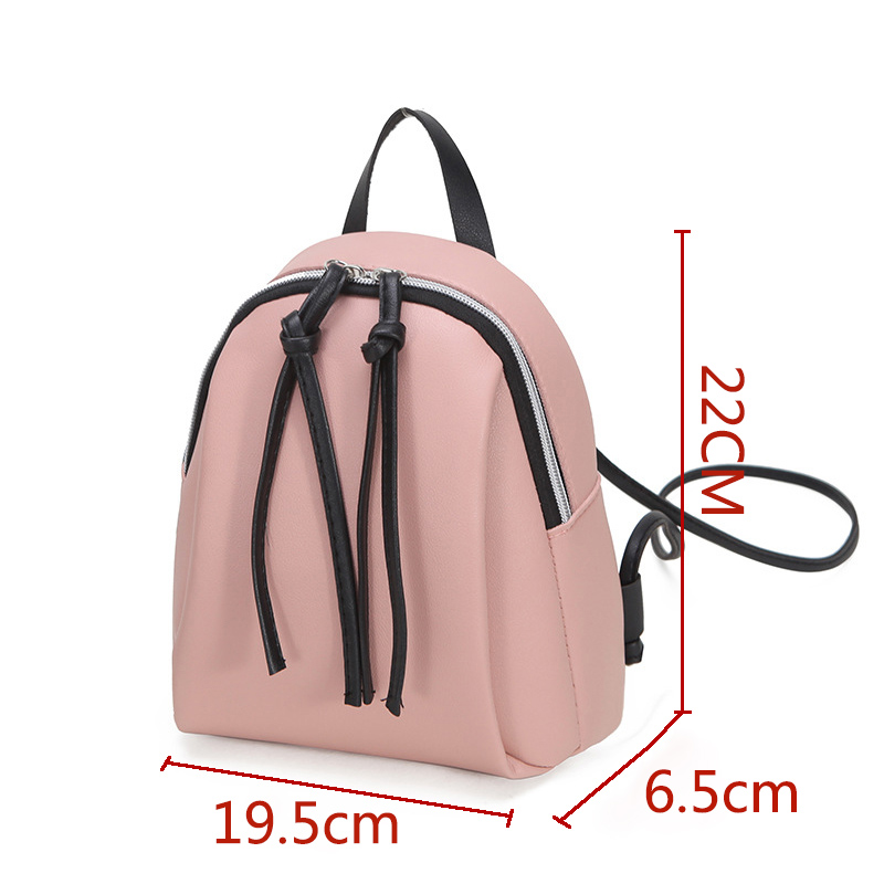 Casual-Small-Waterproof-Backpack-Women-Solid-Color-Pu-Leather-School-Bag-Simple-Mini-Zipper-Bookbags-And