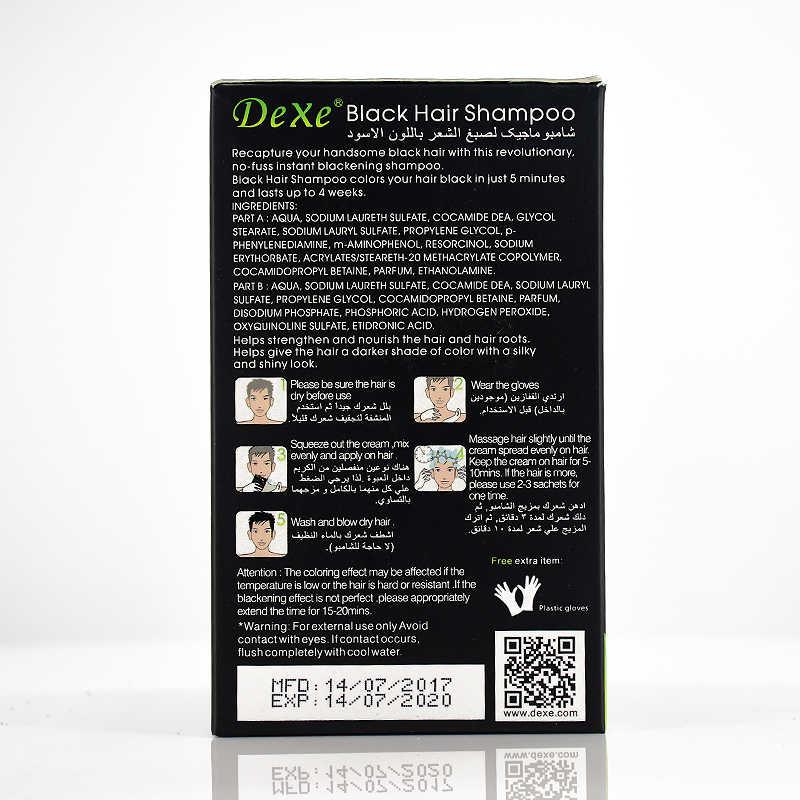 5 sztuk dexe kolor włosów produkt szybki szampon do czarnych włosów biały stają się czarne włosy kolor szary depilacja dla mężczyzn i kobiet