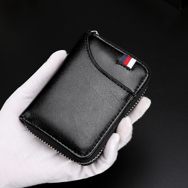 Genuine Leather Function Card Wallet Cowhide Student Zipper RFID Blocking Zipper Pocket High Quality Coin Purse For Men Women image