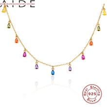 AIDE Colorful Diamond Chain Choker Necklace Charms Real 925 Sterling Silver Necklace For Women 2020 Jewelry Bijoux Femme