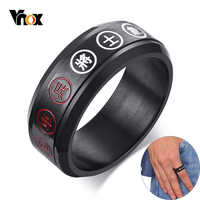 Vnox Spinner Chess Ring for Men Black Stainless Steel Chinese Character Engraved Lucky Blessing Customized Ring